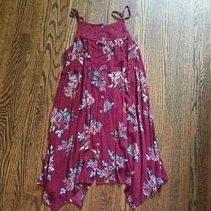 Burgundy mini summer dress